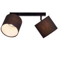 Deckenleuchte 2er Balken in Schwarz mit schwenkbaren Schirmen