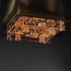 Deckenleuchte 50x50cm in Messing-poliert, inklusive Halogen und LED-Leuchtmittel, Steuerung per Fernbedienung + LED Taschenlampe