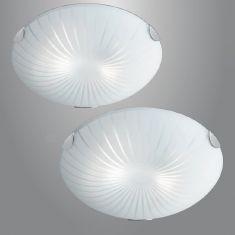 Deckenleuchte aus Glas mit Strahlendekor in Ø 30cm 2x 40 Watt, 8,00 cm, 30,00 cm