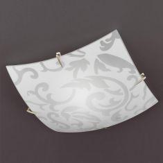 Deckenleuchte aus weißem Glas mit Ornamentik  40x40cm