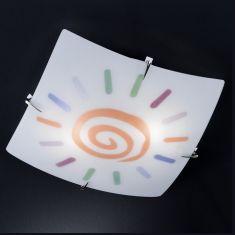 Deckenleuchte aus weißem Glas mit Dekor in orange-bunt, 40x 40cm