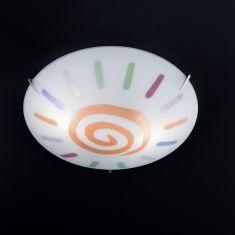 Deckenleuchte aus weißem Glas mit Dekor in orange-bunt, Durchmesser 40cm