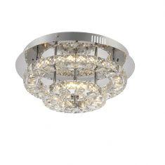 Deckenleuchte in Chrom mit Acrylkristallen 1x 24W LED 4000K + 9x 1,3W LED RGB Farbwechsel mit Fernbedienung +  LED Taschenlampe
