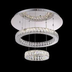 Deckenleuchte in Chrom mit Acrylkristallen LED 70W Lichtfarben 3000-4500-6000K  - inklusive  LED Taschenlampe