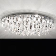 Deckenleuchte in Chrom mit Kristallglas, 100 x 60cm