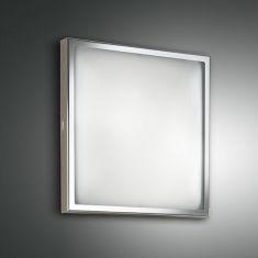 Deckenleuchte 30 x 30 cm, Glas und Metallgestell Chrom silber, Chrom/glänzend