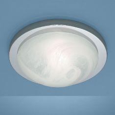 Deckenleuchte Durchmesser 41cm in Chrom mit Bajonett-Schnellverschluss und Alabasterglas