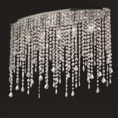 Deckenleuchte Ellipsenform in Chrom mit geschliffenem Kristallbehang, 2 Größen wählbar
