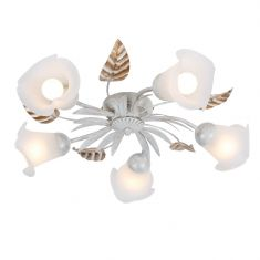 Deckenleuchte im Florentiner Stil in Weiß und Gold - 5-flammig