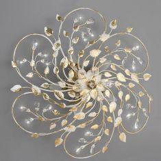 Deckenleuchte im florentiner Stil, Weiß mit Blattgold - 5-flg