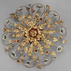 Deckenleuchte im florentinischen Stil - Handgefertigt in Italien - Eisen - Blattgold - und silber - 5-flammig