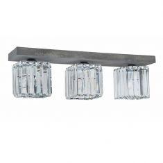 Deckenleuchte Gallant aus Beton und Glas, 3-flammig
