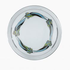 Deckenleuchte Glas mit Motiv, Rand Metall in chrom silber, Chrom