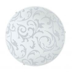 Deckenleuchte Glas satiniert mit floralem Muster