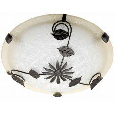 Deckenleuchte Glas Weiß braun mit braunen Metallverzierungen