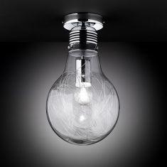 Deckenleuchte in Glühbirnenform, Klarglas - Chrom