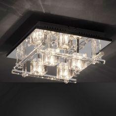 Deckenleuchte mit 24 blauen LEDs und Fernbedienung, Kristallglas klar  und LED Taschenlampe