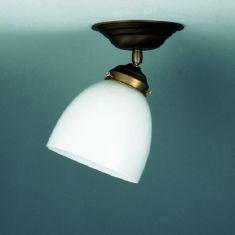 Deckenleuchte mit Gelenk in altmessing, Opalglas