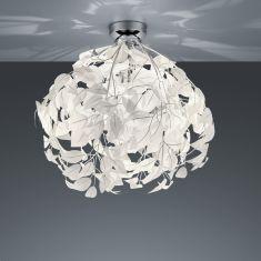 Deckenleuchte mit schmuckvollen Blättern weiß, Ø 38 cm 1x 28 Watt, 58,00 cm, 38,00 cm