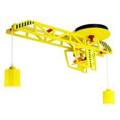 Deckenleuchte mit Turmdrehkran und Kranführer in gelb