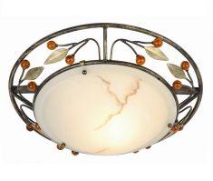 Deckenleuchte mit Verzierung in Beerenform und antikem Glas, 34cm Durchmesser