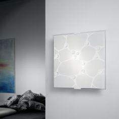 Deckenleuchte mit weißem Strukturglas und Glassteinen