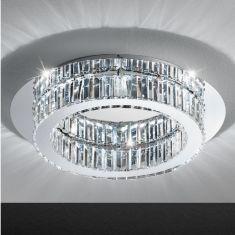 Deckenleuchte rund Chrom Kristallglas klar - in zwei Größen