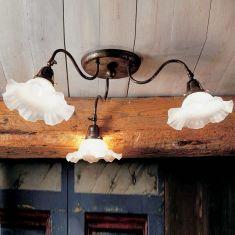Deckenleuchte 3 flammig mit Flügelschraube verstellbar, handverarbeitetes Murano-Glas