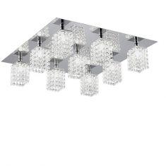 Deckenleuchte 9 flammig mit hochwertigem Kristallglas, Stahl, chrom / Kristall, klar