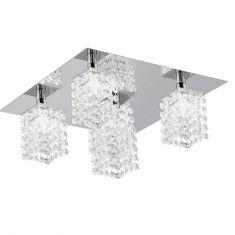 Deckenleuchte 5 flammig mit hochwertigem Kristallglas, Stahl, chrom / Kristall, klar