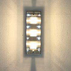 Deckenleuchte, gebürsteter Stahl mit teilsatiniertem Glas- 8 LEDs weiß + G9 3 x 33W, 230V