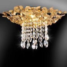 Deckenleuchte, Handarbeit aus Italien - Blattgold - Kristallbehang