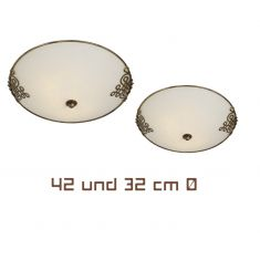 Deckenleuchte, Metall rostbraun, Glas Antikweiß 42 cm 2x 60 Watt, 10,80 cm, 42,00 cm