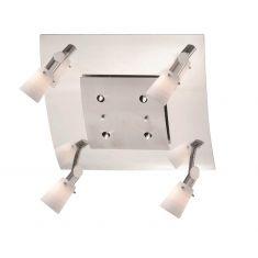 Deckenleuchte - 4 Spots, zusätzliche Lichtpunkte - Nickel matt / Chrom