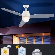 Deckenventilator beleuchtet in Weiß, Flügel satiniert