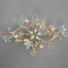 Dekorative Deckenleuchte - 4-flammig - Florentiner Stil - Handgefertigt in Italien - Eisen lackiert - Bleikristallrispen