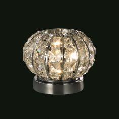 dekorative Tischleuchte in Durchmesser 16cm, chrom mit Kristallglas