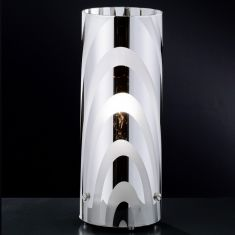 Dekorative Tischleuchte -  Glas teils verchromt - Höhe 25cm