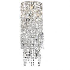 Dekorativer Lampenschirm - Chrom und Kunststoff -  Durchmesser 23 cm - Höhe 63 cm - Chrom