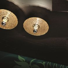 Design-Deckenleuchte Ø 32cm, Mosaik silber, Fassung Blattsilber Blattsilber