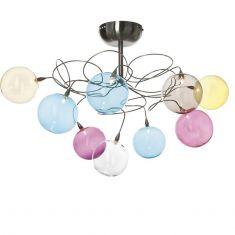 Designleuchte Bubbles aus Edelstahl, handgestaltet mit mundgeblasenen Glasbällen