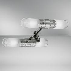 Dezente Spiegelklemmleuchte in Chrom mit teilsatiniertem Glas - inklusive Halogenleuchtmittel
