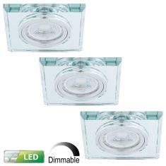 Dimmbarer LED-Einbaustrahler mit Glasrahmen - 3er-Set