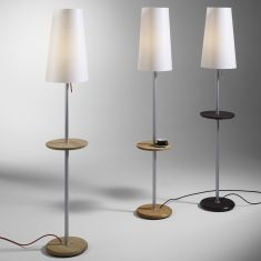 Domus Design-Stehleuchte mit Beistelltisch - Echtholz