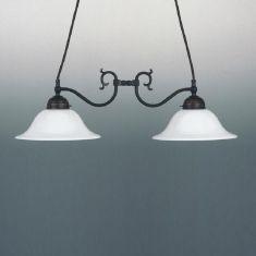 Doppelpendelleuchte 2-flammig  antik - nur Leuchte - verschiedene Gläser wählbar