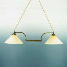 Doppelpendelleuchte 76 cm Altmessing - Gläser wählbar
