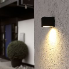 Downlight LED-Außenwandstrahler schwarz+ GU10 LED 5 W