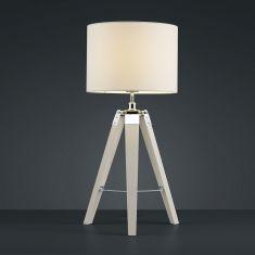 Dreibein Tischleuchte - Holzfuß und Stoffschirm in Weiß