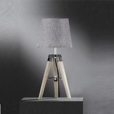 Dreibein Tripod-Tischleuchte mit Stoffschirm in grau