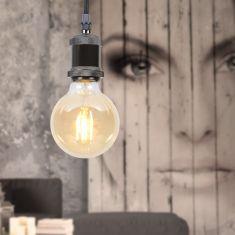 E27 Leuchtenpendel -Textilkabel schwarz, Metall Chrom geschwärzt